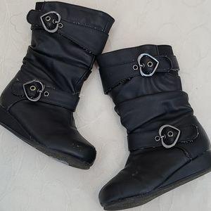 143 Girl black zip boots